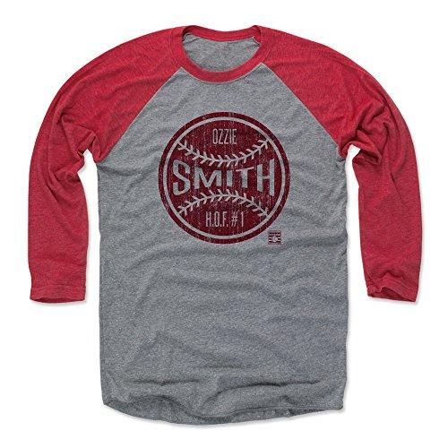 500 LEVEL Ozzie Smith Baseball Tee Shirt (X-Large, Red/Heather Gray) - St. Louis Cardinals Raglan Tee - Ozzie Smith Ball -