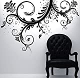 "Stickerbrand Floral Décor Vinyl Wall Art Flower Ornaments Wall Decal Sticker - Black, 44"" x 66"". Easy to Apply & Removable."