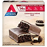 #8: Atkins Snack Bars, Cookies n' Crème, 14g Protein, 1g Sugar, 4g Net Carbs, 8.82-Ounce, 5-Bars (Packaging may vary)