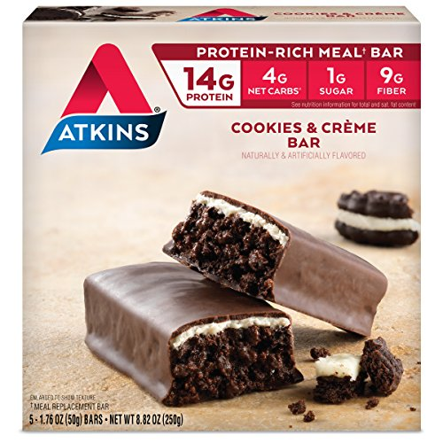 Atkins Protein-Rich Meal Bar, Cookies n' Crème, 5 Count (Protein Creme Bar Cookies)