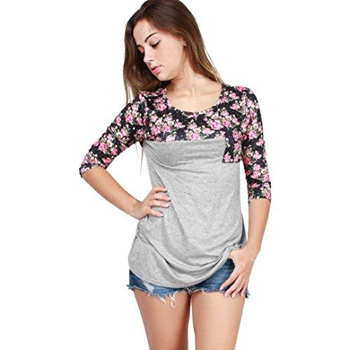 Lisingtool Women's Long Sleeve Casual Blouse Tops T Shirt (S, Gray)