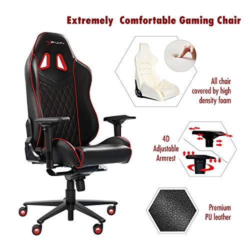 Ewin Gaming Office Chair 4D Adjustable Armrests PU Leather Diamond Pattern Ergonomic Racing Executive Computer Chair Champion Series Black Red