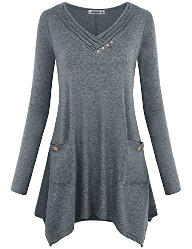 MOQIVGI Cowl Tunic,Long Sleeve Vneck Casual Slim Asymmetrical Hem Shirts Designer Lightweight Feminine Comfy Draped Heathered Blouses Boutique Fall Winter Tops for Leggings for Women Grey XX-Large