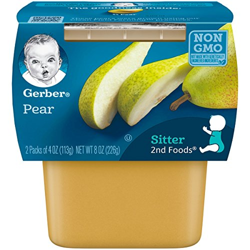 Gerber 2nd Foods Pears, 4 Ounce Tubs, 2 Count (Pack of 8)