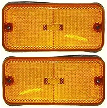 Side Marker compatible with 77 Chevrolet K30 Set of 2 Amber Lens Lens and Housing Right or Left Side