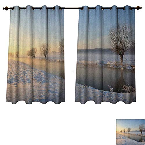 PriceTextile Winter Blackout Thermal Curtain Panel Snowy River Landscape Barren and Frosted Trees Dutch Netherlands Europe Photograph Patterned Drape for Glass Door Multicolor Size W52 xL63