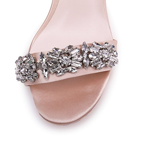 39a7ac4a749b onlymaker Women s Ankle Strap Strappy Rhinestone Sandals Jewel Embellished  High Heel Stiletto Satin Party Wedding Shoes