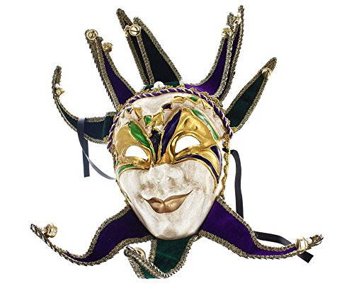 Smiling Jester Mardi Gras Full Face Carnival Mask with Bells