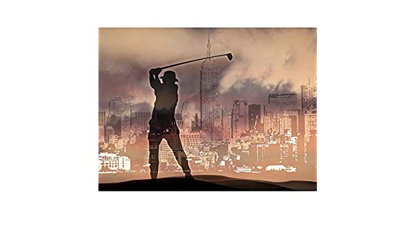 PAINTING CITYSCAPE GOLFER SILHOUETTE SPORT ART PRINT POSTER MP5234A