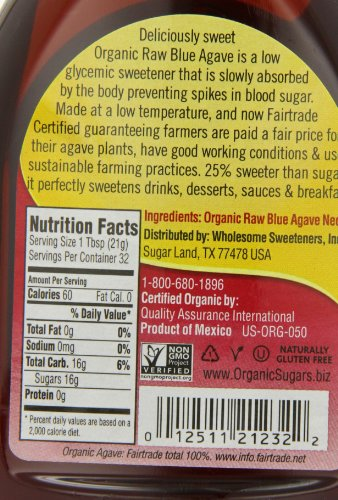 012511202316 - Wholesome Sweeteners, Organic Raw Blue Agave, 23.5 Ounce, 6 Pack carousel main 1
