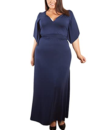 Womens Plus Size Long Dress Short Sleeve V Neck Evening Dresses Navy XL