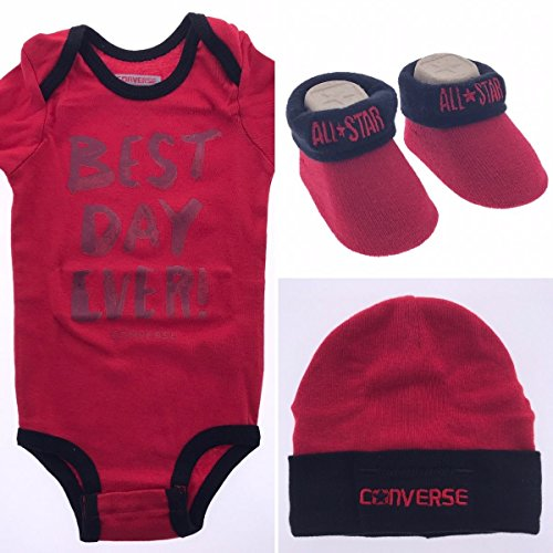 Converse Infant 3 Piece Baby Set (0-6 Months, Red) -