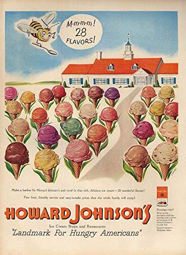 Ice Johnsons Howard Cream (M-m-m-m! 28 Flavors of Ice Cream - Howard Johnson's Restaurant ad 1951 L)