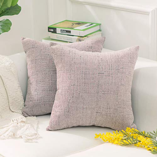 HOME BRILLIANT Decorative Pillowcases Throw Pillow Covers Valentines Decoration Soft Striped Velvet Chenille Plush Cushion Cover for Square Pillow (2Packs, 18 x 18 inch, 45cm), Light Pink (Pillow Velvet Mauve)