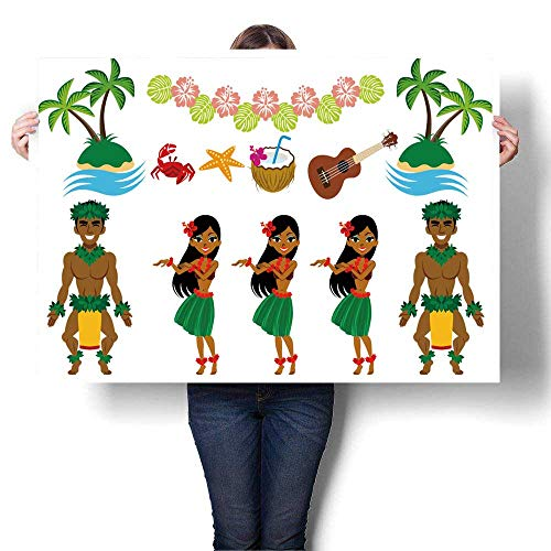 (SCOCICI1588 Canvas Prints Abstract Pictures Hula Dancer and Hawaiian Set Oil Painting,32