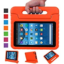 Fire 7 2015 Case, Grand Sky Super Light Weight Shock Proof Handle Protective Stand Kids Case for Fire 7 inch Display Tablet (5th Generation - 2015 Release Only) (Orange)