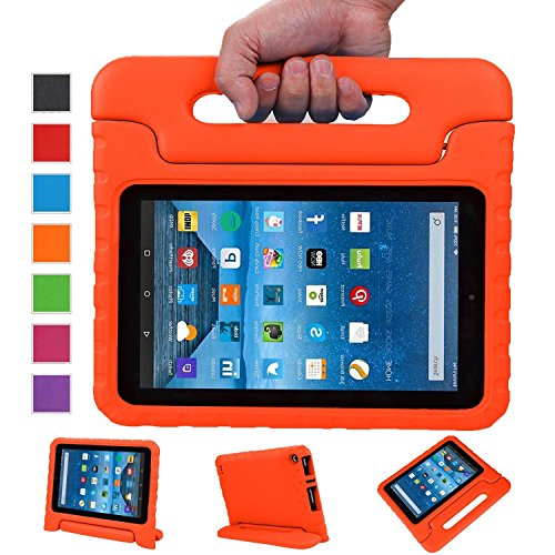 Fire 7 Case,Fire 7 2015 Case,SNOW WI®-Kids Shock Proof Convertible Handle Stand Light Weight Super Protective Stand Cover for Amazon Fire Tablet (7 inch Display, 2015 Release Only) (Orange)