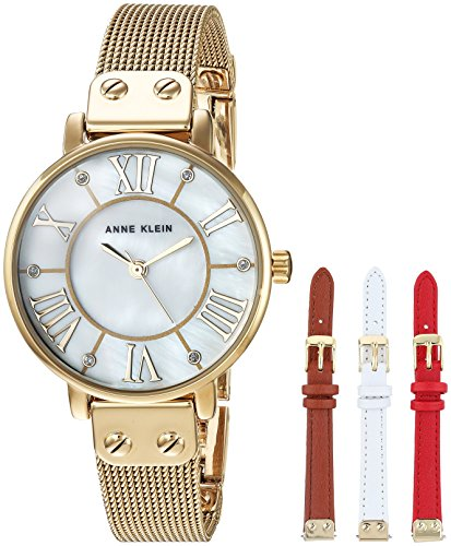 Anne Klein Women's AK/3180GBST Gold-Tone Mesh Bracelet Watch and Interchangeable Strap ()