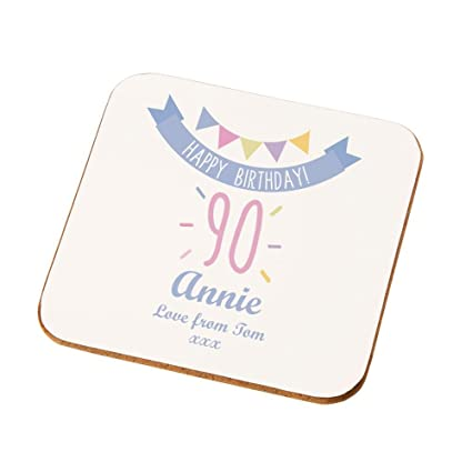 Personalised 90th Birthday Coaster Gifts For Her Bespoke Presents Amazoncouk Kitchen Home