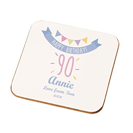 Personalised 90th Birthday Coaster Gifts For Her Bespoke Presents