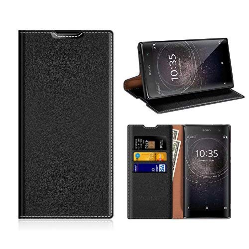 Sony Xperia XA2 Wallet Case, Mobesv Sony Xperia XA2 Leather Case/Phone Flip Book Cover/Viewing Stand/Card Holder for Sony Xperia XA2, Black