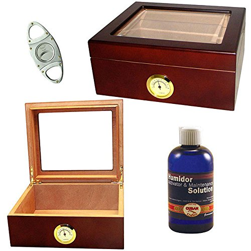 Glass-Top Humidor Set with Cuban Crafters Cutter for 40 Cigars. (Humidor Cuban Crafters)