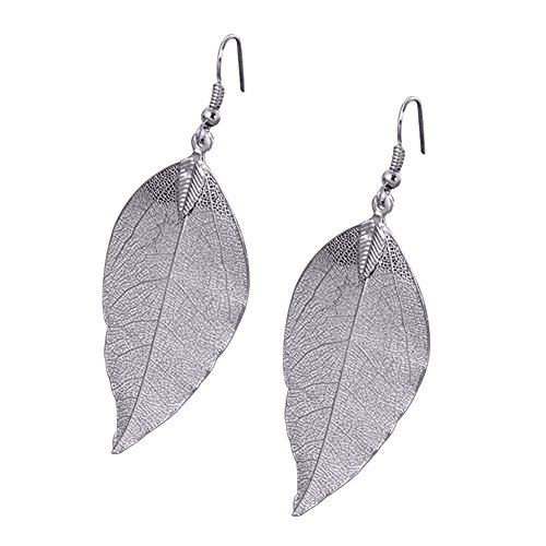 Price comparison product image Bluelans Boho Retro Unique Leaf Style Dangle Earrings Elegant Wedding Bridal Jewelry (Silver)
