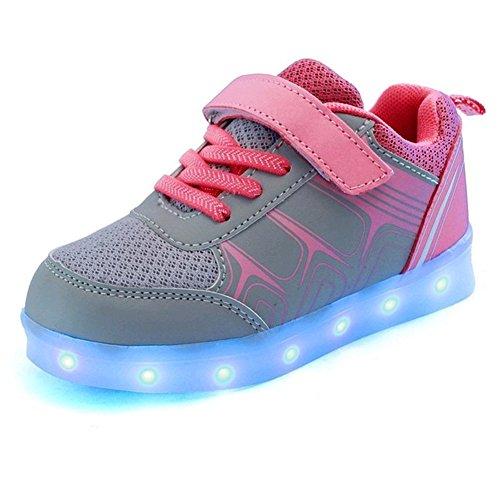 LASYMIE ,  Unisex Kinder Sneaker Low-Tops , - Grey&Pink - Größe: 36 EU