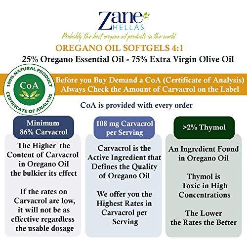 Zane Hellas Acéite de Orégano Perlas. Concentrado 4:1 Contiene 108 mg de Carvacrol por Porción. 60 Perlas con Acéite Esencial Puro de Orégano y Acéite de ...