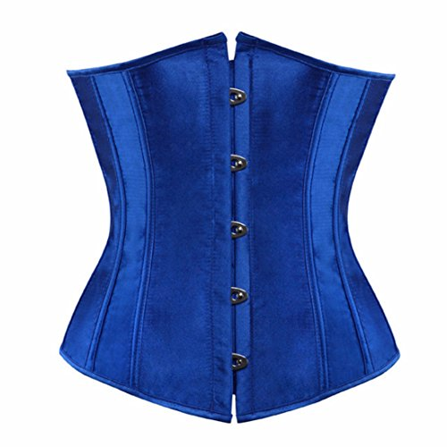 Women's Satin Floral Underbust Lace Up Corset 7055blue