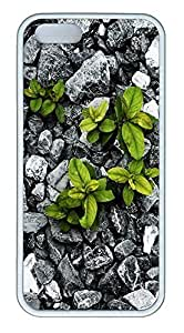 iPhone 5 5S Case Nature Rock Plants TPU Custom iPhone 5 5S Case Cover White