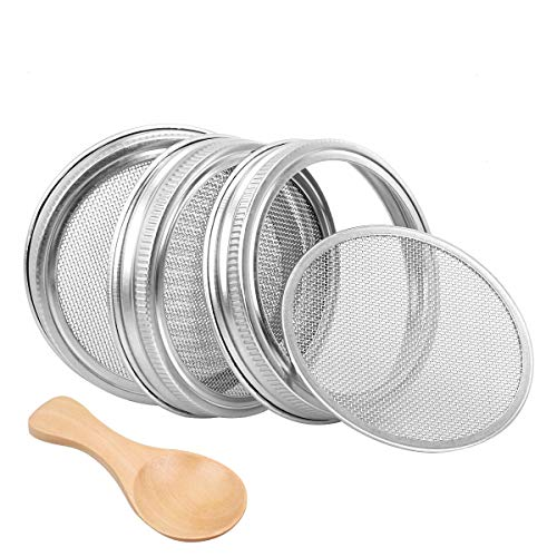 Sprouting Lids Stainless Steel for Wide Mouth Mason Jars 3 Pack, Bonus Organic Wooden Spoon, Seed Strainer Lid for Canning Jars - Grow Bean Sprouts, Alfalfa, Salad Sprouts and ()