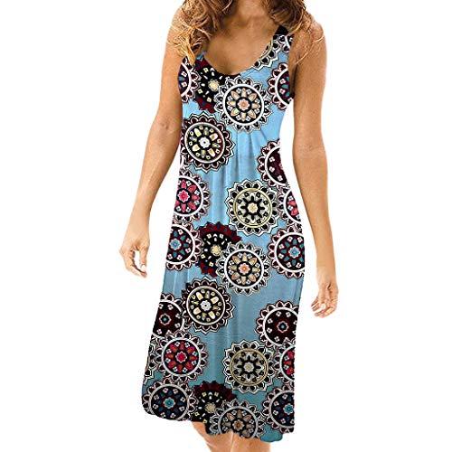 - EDTO Women's 2019 Summer Hot Short Sleeve V-Neck High Waist Floral Print Mini Boho Beachwear Dress Sundress