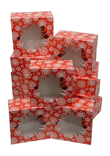 Christmas Cookie gift boxes, fold-able with holiday designs, set of 12 boxes (Pretty Snowflakes)