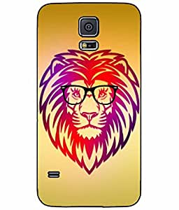 Geek Lion in Glasses Plastic Phone Case Back Cover Samsung Galaxy S5 I9600
