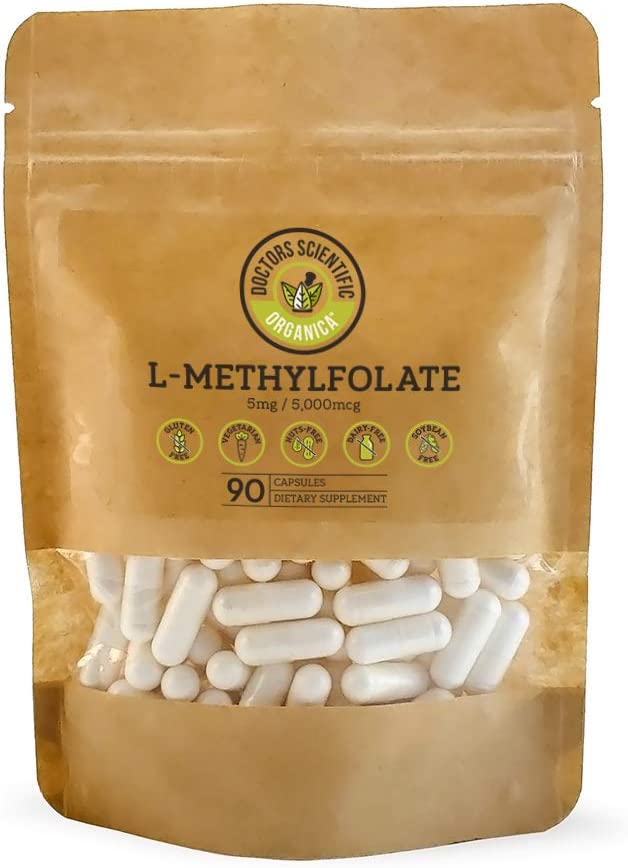 DSO L-Methylfolate 5-MTHF 5 MG 90 Capsules Active Folate Boost Immune System Homocysteine Control Anxiety Relief Folic Acid Vitamin Eco-Friendly Packaging 90