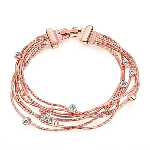 YamaziHD Fashion Jewelry Austrian Crystals Rose Gold Plated Multi-Strand Unique Bracelet for Women Girls (Big ()