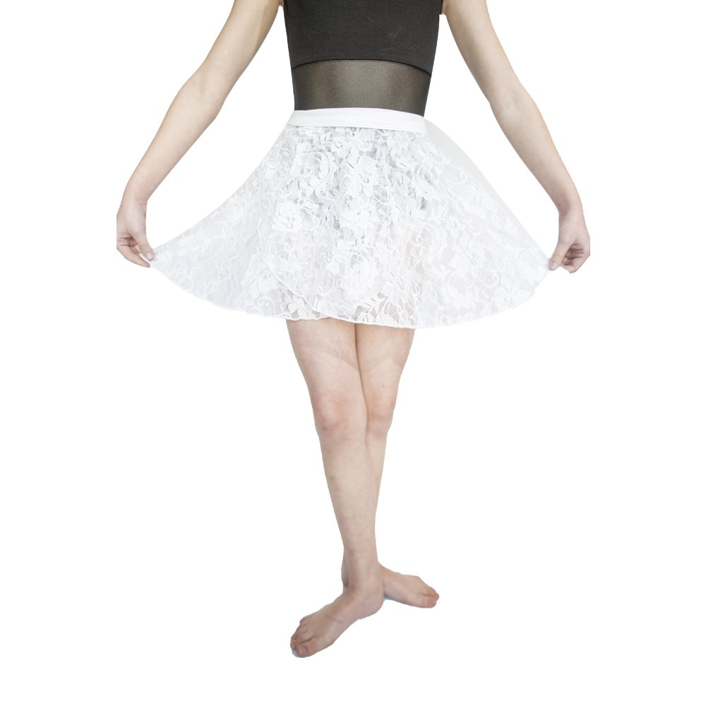 HDW DANCE Lace Dance Wrap Skirts for Kids Cotton Waistband (White-C) by HDW DANCE