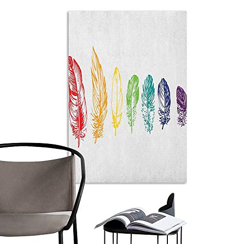 (Wall Mural Wallpaper Stickers Nature Collection of Ink Drawing Style with Rainbow Feathers Natural Artwork Print Red Green Purple Removable Kitchen W24 x H36)