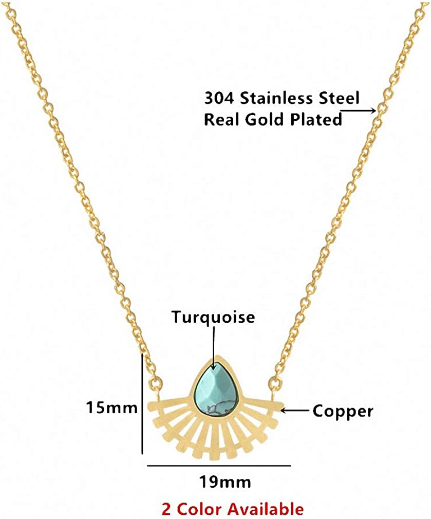 Xileg Stainless Steel Natural Stone Choker Jewelry Gold Silver Teardrop Pendant Necklace Sector Boho