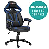GTFORCE ROADSTER 1 SPORT RACING CAR OFFICE CHAIR, ADJUSTABLE LUMBAR SUPPORT GAMING DESK BUCKET FAUX LEATHER WITH MESH TRIMMINGS (Blue)
