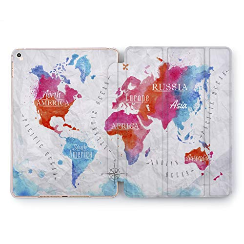 Wonder Wild Rainbow Map iPad Case 5th 6th Generation Mini 1 2 3 4 Air 2 Pro 10.5 12.9 2018 2017 9.7 inch Smart Original Cover Watercolor Design World Print Texture Creative Meridian Compass Planet]()