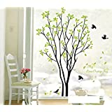 My Time Change Free Tree Green Leaves Swallows Birds DIY PVC Vinyl Wall Sticker Removable Home Decoration Art Décor Mural Bedroom Living Room Decorative Decal