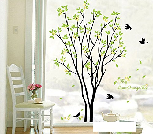 3d Large Size Round Dots Tree Wall Stickers Home Decor: Amazon.com: Large Dark And Green Tree Blowing In The Wind