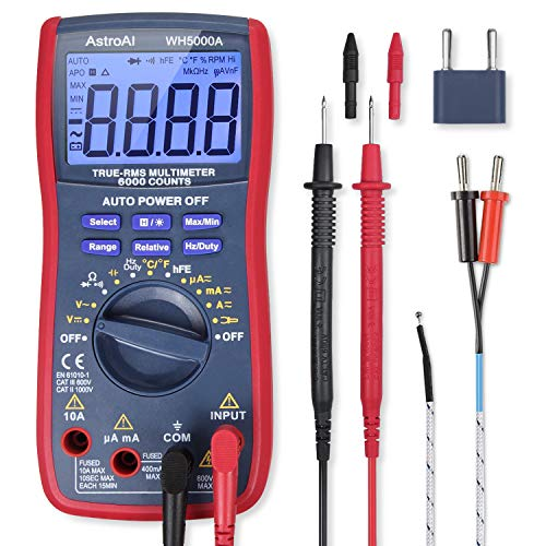AstroAI Digital Multimeter, TRMS 6000 Counts Volt Meter Manual and Auto Ranging; Measures Voltage Tester, Current, Resistance, Continuity, Frequency; Tests Diodes, Transistors, Temperature, Red (Transistor Testing)