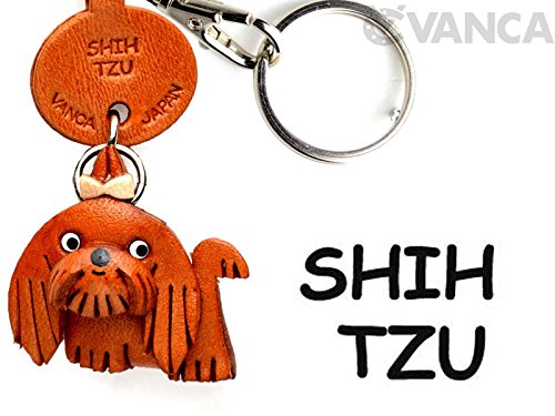 Leather Dog Key Ring - Shih Tzu Leather Dog Small Keychain VANCA CRAFT-Collectible Keyring Charm Pendant Made in Japan