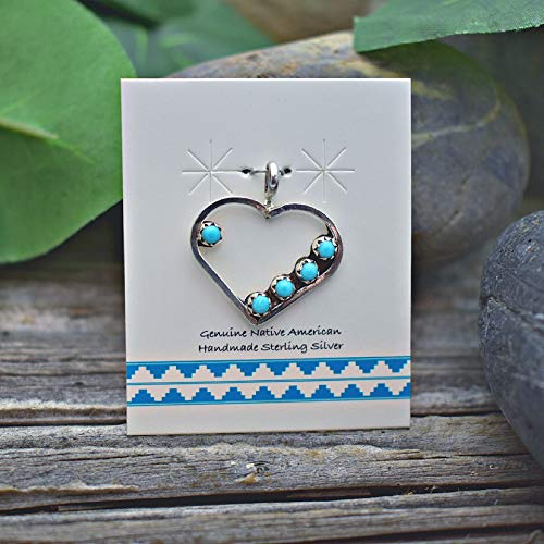 Genuine Sleeping Beauty Turquoise Heart Pendant in 925 Sterling Silver, Authentic Navajo Native American, Handmade in the USA, Nickle Free, With or Without Sterling Chain, Boho Style Necklace