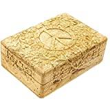 """7""""x5"""" Carved Wooden Box - Peace Sign"""