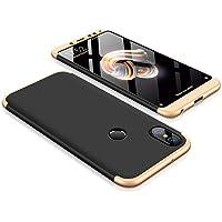 """Kit Capa Capinha Anti Impacto 360 Para Xiaomi Redmi Note 5 Tela 5.99"""" - Case Acrílica Fosca Acabamento Macio Com Película De Vidro Temperado - Danet (Preto Com Dourado)"""