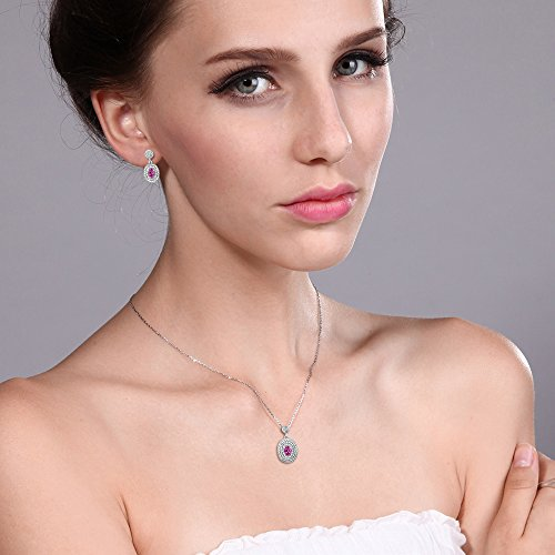1.52 Ct Pink Created Sapphire and Diamond Rhodium Plated Pendant Earrings Set